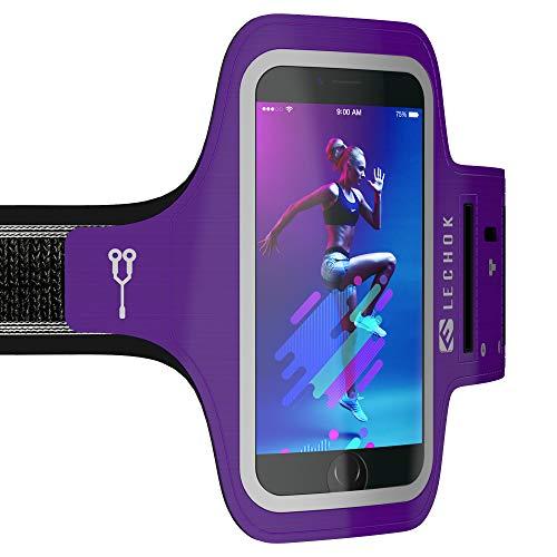 ELECHOK Schweißfest Sport Armband Fitness Universell Handyhülle iPhone-ID Touch-Mit Schlüsselhalter,Kabelfach,Kartenhalter,für iPhone 8/7/6/6S/5/SE,Galaxy S7/S6 Edge Laufen Joggen bis 5.1 Zoll - Lila