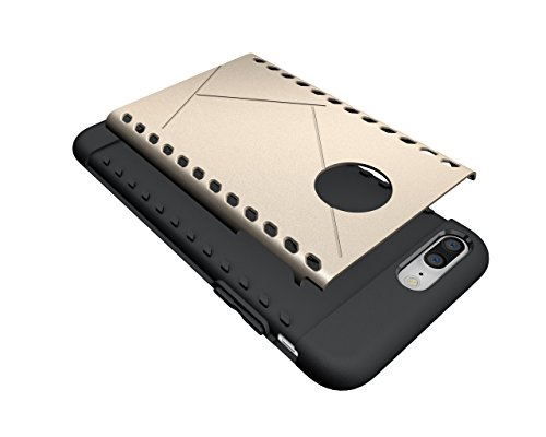 KaiTelin Schutzhülle Apple iPhone 7 Plus Hülle - Doppelschicht Kombination Harte Schale Fall Stoßfest [Crash Schutz] für Apple iPhone 7 Plus - Grün Gold