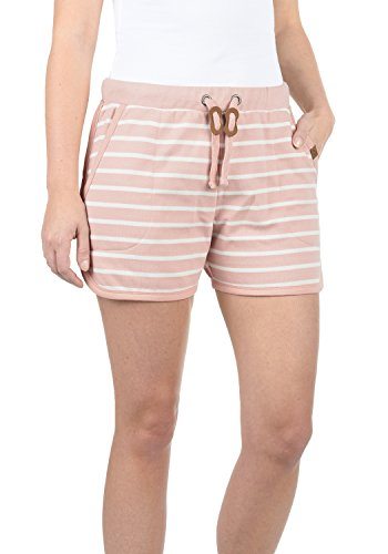 Blend She Kira Damen Sweatshorts Bermuda Shorts Kurze Hose mit Fleece-Innenseite und Streifen-Muster Regular Fit, Größe:M, Farbe:Misty Rose (20205)