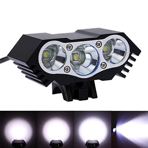 TriLance LED Fahrradlicht, StVZO Zugelassen LED wiederaufladbare Fahrradbeleuchtung Frontlicht Fahrradscheinwerfer, 4 Licht-Modi Fahrradlichter, IPX 7 LED Fahrradlampe Frontscheinwerfer (Black) -