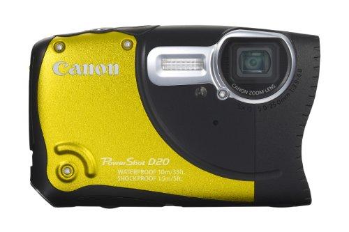 Canon PowerShot D20 Digitalkamera (Wasserdicht bis 10m, 12.1 Megapixel, 5-fach opt. Zoom, 7.6 cm (3 Zoll) Display) gelb (Canon Powershot Unterwasser-kamera)