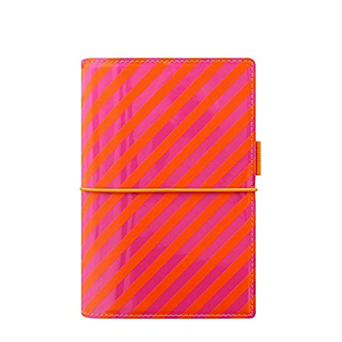 Filofax A5Domino Patent Rayures Organiseur personnel–Orange/rose