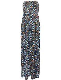 Damen Blumendruck Boobtube Sheering Maxi-Kleid neue Damen Scheren boobtube Maxi-Kleid Frauen trägerlosen lange Maxi gedruckt Sommerkleid Größ