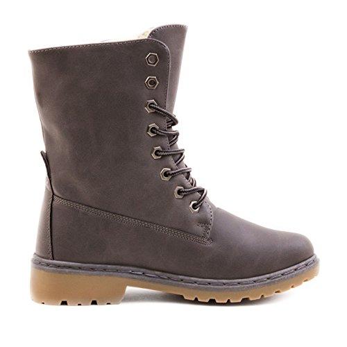 auch Stiefel Lederoptik in Glatt Paris Damen Boots Grau Übergrößen in gefüttert Stiefeletten Schnür Worker Y8ZxfxtqF
