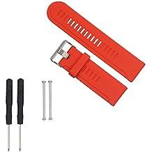 For Garmin Fenix/Fenix 2 Watch ,Ouneed ® Soft reemplazo de la correa del silicón del reloj Band + agarraderas de adaptadores para Garmin Fenix / Fenix 2 Ver (rojo)