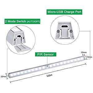 Motion-Sensor-Light-LOFTer-Rechargeable-Wireless-3M-Magnetic-Stick-on-Anywhere-Battery-Powered-PIR-Motion-Activated-Cabinet-Wardrobe-Cupboard-Kitchen-Counter-Drawer-Night-Lighting2-Ways-to-Install