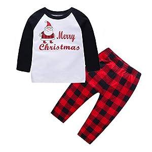 TPulling Baby Mädchen Junge Kleidung Kinder-Frohe Weihnachten Pyjamas Santa Plaid Hose Familie passender Xmas Sleepwear Set