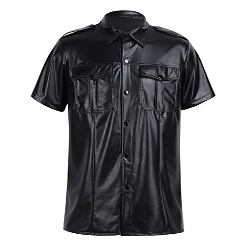 CHICTRY Men's Black Leather Short Sleeve Police Uniform Button Down T Shirt Top