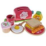 KESOTO Juguete de Cocina Tostadora y Desayunos de Imitación Madera Juego de Fantasía para Niños Accesorios de Casa de Muñecas