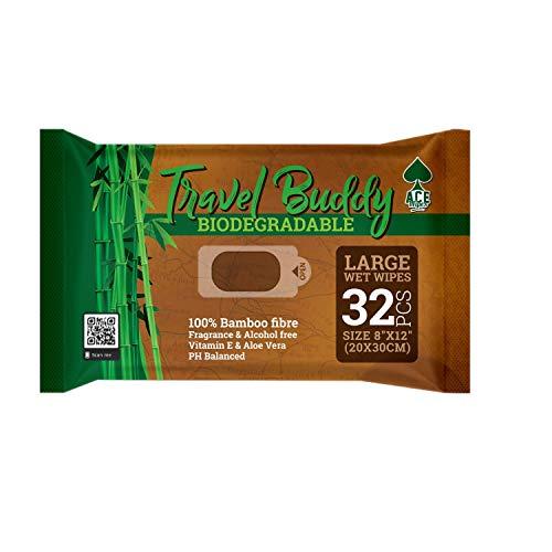 Travel Buddy Große biologisch abbaubare Feuchttücher - Kein Ausspülen Baden oder Duschen Feuchttücher - Perfekte Lösung zum Sauberhalten nach dem Fitnessstudio, Sport, Reisen, Camping, Festival