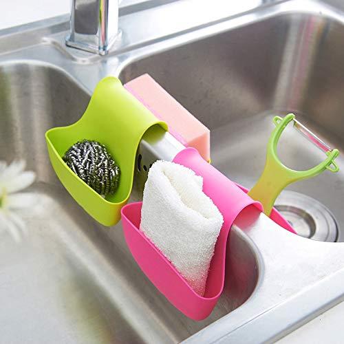 Outtybrave Tragbare Doppel-Seitenhalterung für Waschbecken und Abfluss 11x13cm grün
