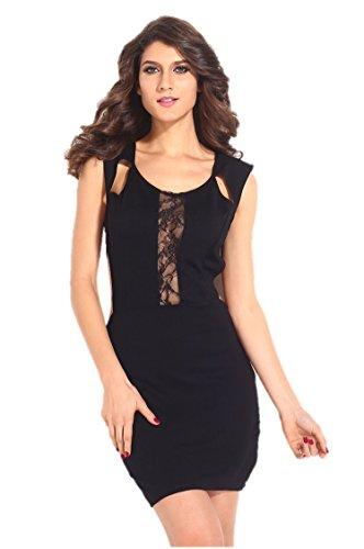 kingfield femmes dentelle florale sur la poitrine sexy Découpe Dos Et La Taille mini robe Noir - Noir