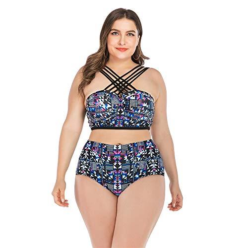 Zweiteiliger Badeanzug für Damen Frauen Vintage Zweiteilige Badeanzüge Plus Size High Waisted Bandage Bikini Sets Gedruckt Riemchen Bademode Badeanzüge Badehosen mit Bügeloberteil Damen Weste Badeanzu