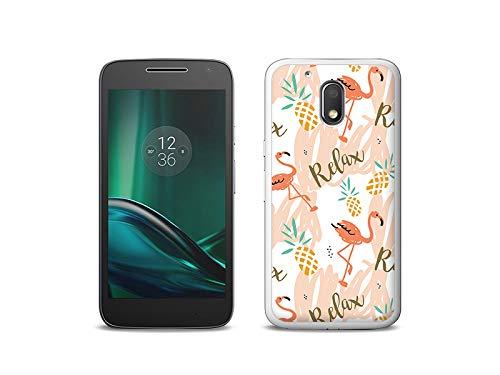 etuo Handyhülle für Lenovo Moto G4 Play - Hülle, Silikon, Gummi Schutzhülle - Rosa Flamingos