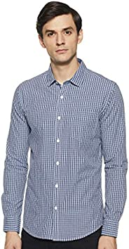 Amazon Brand - Symbol Men's Solid Slim Fit Full Sleeve Cotton Casual S