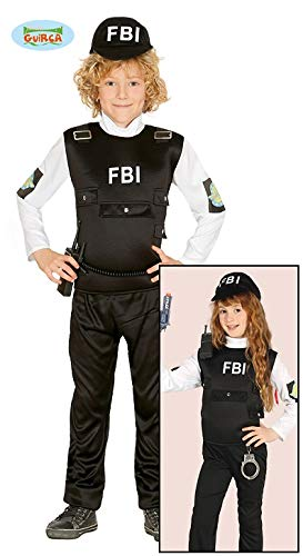 Kinder Agenten Kostüm - Guirca FBI Agent Kostüm für Kinder Polizist Polizeikostüm Cop SEK SWAT Gr. 110-152, Größe:110/116