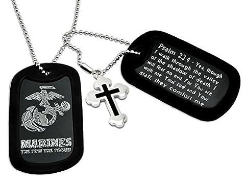 U.S. marines Logo + Psalm 23: 4Bible Verse Inscription en aluminium de style militaire Dog Tag Collier
