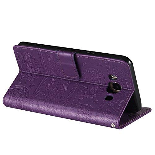 Für Samsung Galaxy J7 2016 Premium Leder Schutzhülle, weiche PU / TPU geprägte Textur Horizontale Flip Stand Case Cover mit Lanyard & Card Cash Holder ( Color : Purple ) Purple