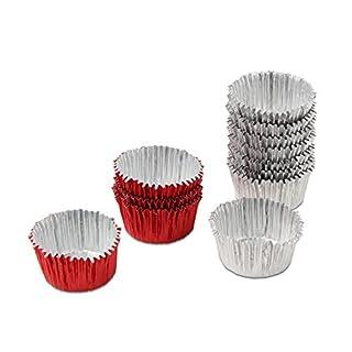Dr. Oetker Pralinenförmchen Ø 3 cm, Förmchen aus Aluminium für köstliche Pralinen oder Trüffeln, einfaches Befüllen und Herauslösen, hohe Flexibilität, (Farbe: rot, silber), Menge: 30 Stück