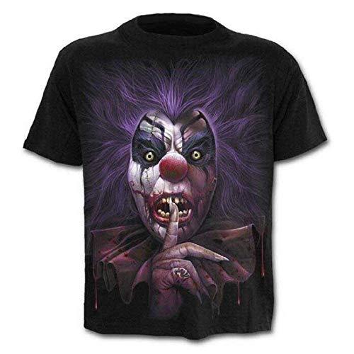 Größe L - C04 - T-Shirt - Shirt - Shirt - 3D - Kurze Ärmel - Männer - Frauen - Unisex - Lustig - Geschenkidee - Zubehör - Cosplay - Cross-Dressing - Clown - Clown - Pennywise - Horror