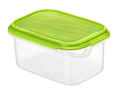Rotho Rondo Frischhaltedose 0.75 l, Kunststoff (BPA-frei), grün / transparent, 0.75 l (16 x 12 x 7,5 cm)