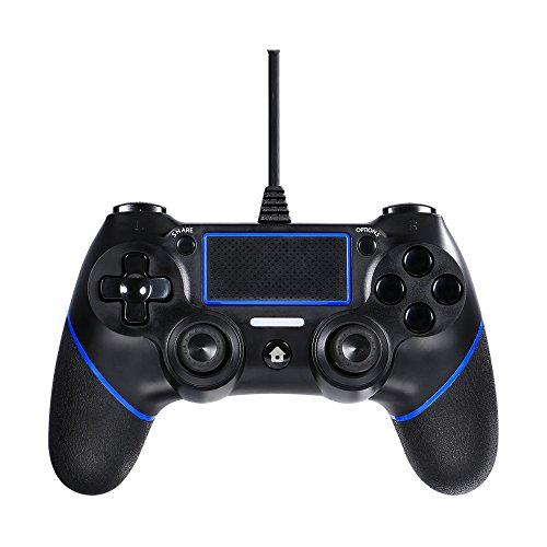 Contrôleur Wired PS4, Molyhood manette de jeu Wired Manette de jeu Manette de jeu Joypad Gioco par PlayStation 4/PS4 Slim/PS4 Pro-Nero