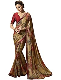 Printed Georgette Saree With Border And Georgette Blouse