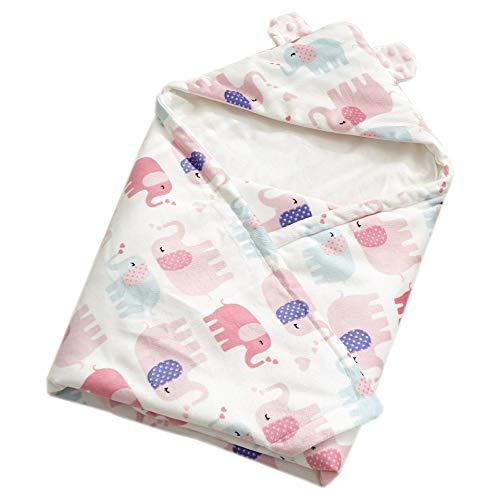 Neugeborenes Baby Kapuzendecke mit Elefant Wickeln Swaddle Decke Schlafsack für 0-12 Monat Baby 75 x 75cm (Rosa)