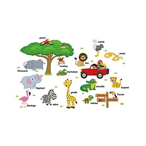Dschungel Thema Wandaufkleber Kinderzimmer Waldtiere Vinyl Kinderzimmer Aufkleber Baby Kinderzimmer Dekor Abnehmbare Wasserdichte Kreative 3D Pvc Poster (Baby Dschungel-thema Zimmer)