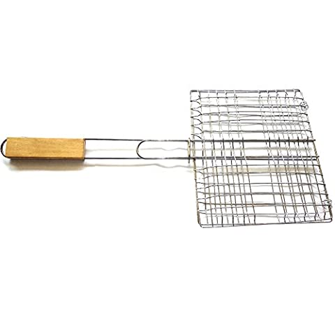 BBQ Grill Basket Outdoor Stainless Steel Grill Nets Barbecue Meshes with Handle