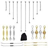 Magnetische Verschlüsse,22 Stück magnetische Schmuck-Verschlüsse für Halsketten,Gold und Silberfarben,Kettenverlängerung,Konverter für Schmuckherstellung