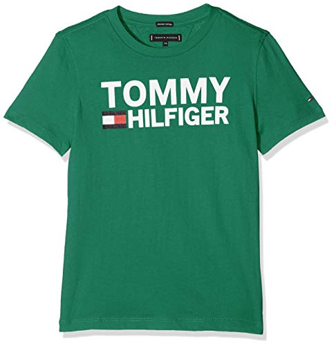 Tommy hilfiger essential graphic tee s/s, t-shirt bambino, verde (shady glade 394), 110 (taglia produttore: 5)