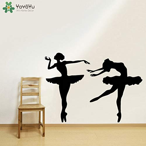 zhuziji Ballerina Dancer Vinyl Wall Decal Girls Elegant Ballet Wall Stickers for Kids Rooms Gymnastic Studio Art Mural Modern Dec 59x42cm