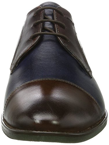 Bugatti 312164031111, Derby Uomo Marrone (Dark Brown / Dark Blue)