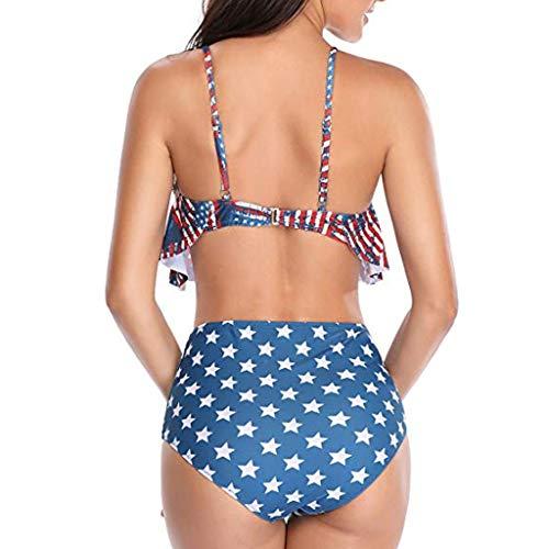 Asalinao Badeanzug Damen, Frauen drucken Tube bis Zwei Stück Bikini Push-Up Badeanzug Bademode Beachwear