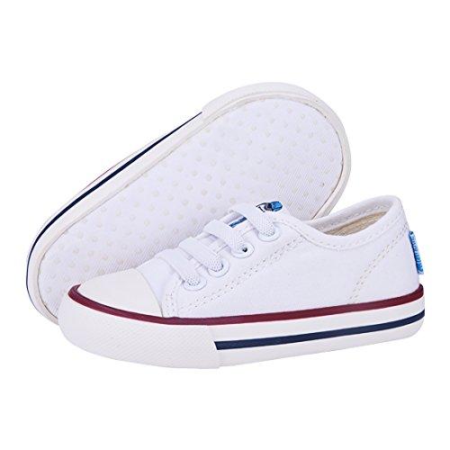 MINIRAH! Kleinkind Schuhe Infant Baby Schuhe Kinderschuhe Lauflernschuhe Canvas Leinwand Sneaker Anti-Skid Soft Shoes Low-Top High-Top für Jungen Mädchen, Weiß-Low top, Gr. S:11.8cm (Baby Leinwand)