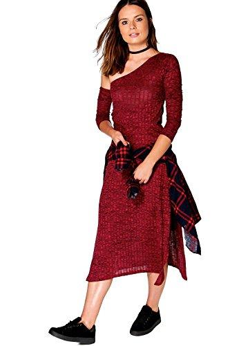 Berry Damen Aoife Asymmetrische Bardot gewelltes Midi-Kleid Beere