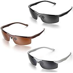Aroncent Schutzbrille, Herren Polarisiert UV400 Schutz Halbrahmen Sonnenbrille, Silber Schwarz Braun