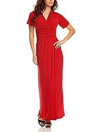 Robe de Soirée longue élégante pour Dames avec Manches Courtes et Col V