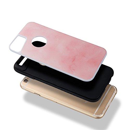Étui en marbre iPhone 6, Coque iPhone 6s,Lifetrut [Modèle de marbre] Pare-chocs Arrière Doux 2 en 1 Housse en Silicone en Caoutchouc TPU pour iPhone 6 [Bleu ciel] E202-Rose