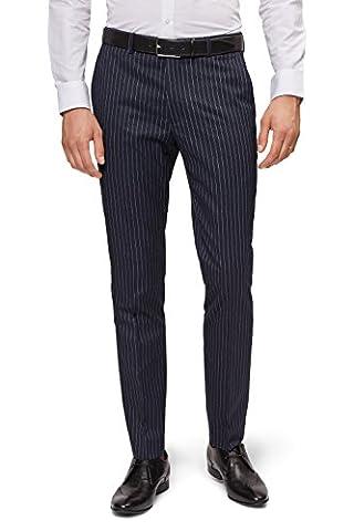 Moss London Men's Skinny Fit Navy Pinstripe Suit Trousers 34R Blue