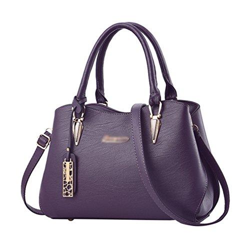 Baymate Damentasche Handtasche Frauen PU Leder Vintage Schultertasche Umhängetasche Messenger Bag Dunkel violett