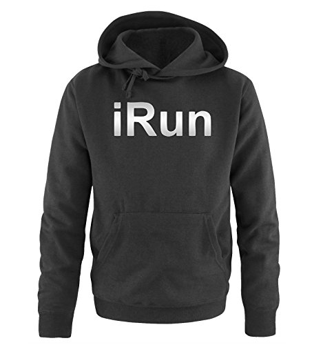 Comedy Shirts - iRun - Uomo Hoodie cappuccio sweater - taglia S-XXL different colors nero / argento