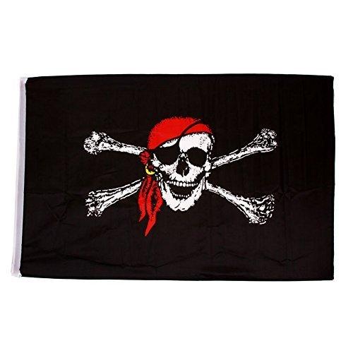 Halloween Cosplay Kostüm zerfetzten Flagge Pirat rot Bandana Totenkopf Flagge 3ft x (Kostüme Pirat Deluxe Caribbean)