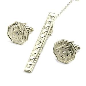 HONG-Accessories Manschettenknöpfe mit Sechskant-Diamanten für Männer