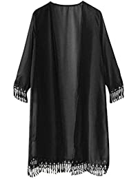 Resplend Frau Chiffon langer Mantel Damen Kurzarm Cardigan Mit Fransen Kurzarm Top Schal Kimono