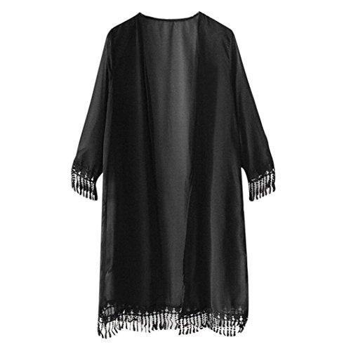 Resplend Frau Chiffon langer Mantel Damen Kurzarm Cardigan Mit Fransen Kurzarm Top Schal Kimono (Schwarz) (Faux-pelz-fransen)