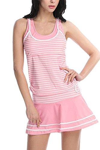 Frauen Heißen Ärmellose Streifen Rückenfrei 2 Stück Badeanzug Skirtini Pink L (Badeanzug Skirtini Stück 2)