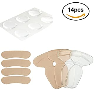 High Heel Pads (14 pcs)-High Heel Inserts Liner Insoles Pads, Heel Grips, Anti Slip Shoe Cushion, Heel Snugs for Women, Back of Heel Cushions - Blister Prevention & Improve Shoes Too Big