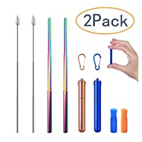 شفاطات قابلة للطي قابلة لإعادة الاستخدام من توجز TOUGS Telescopic Rainbow Stainless Steel Straw with Aluminum case, Silicone Tips Reusable Collapsible Straws